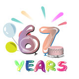 67 years anniversary celebration greeting card. Vector illustration Stock Photo