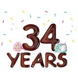 34 years anniversary celebration greeting card. Stock Photo