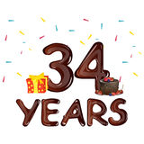 34 years anniversary celebration greeting card. Stock Photography