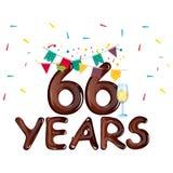 66 years anniversary celebration greeting card. Vector illustration vector illustration