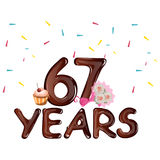 67 years anniversary celebration greeting card. Vector illustration Stock Photography