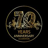 70 years anniversary celebration logo. Emblem, sticker, banner Stock Illustration