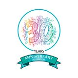 30 years anniversary celebration logo. Emblem, sticker, banner Stock Photos