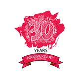 30 years anniversary celebration logo. Emblem, sticker, banner Stock Images