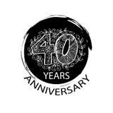 40 years anniversary celebration logo. Emblem, sticker, banner vector illustration
