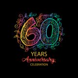 60 years anniversary celebration logo. Emblem, sticker, banner Royalty Free Stock Image