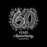60 years anniversary celebration logo. Emblem, sticker, banner royalty free illustration