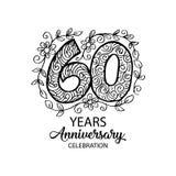 60 years anniversary celebration logo. Emblem, sticker, banner vector illustration