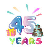 45 Years Anniversary celebration logo. Vector illustration Royalty Free Stock Photography