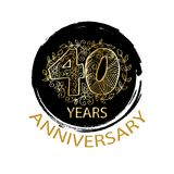 40 years anniversary celebration logo. Emblem, sticker, banner Royalty Free Stock Photos