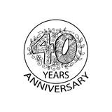 40 years anniversary celebration logo. Emblem, sticker, banner Royalty Free Stock Image