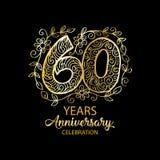 60 years anniversary celebration logo. Emblem, sticker, banner stock illustration