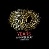 50 years anniversary celebration logo. Emblem, sticker, banner Royalty Free Stock Images