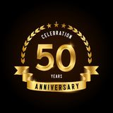 50 years anniversary celebration logotype. Golden anniversary emblem with ribbon. Design for booklet, leaflet, magazine, brochure. Poster, web, invitation or stock illustration