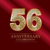 56th years anniversary logotype disco style. 56 years anniversary celebration logotype red background. Anniversary disco style stock illustration
