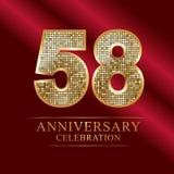 58th years anniversary logotype disco style. 58 years anniversary celebration logotype red background. Anniversary disco style stock illustration