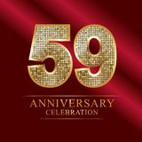 59th years anniversary logotype disco style. 59 years anniversary celebration logotype red background. Anniversary disco style royalty free illustration