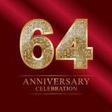 64th years anniversary logotype disco style. 64 years anniversary celebration logotype red background. Anniversary disco style stock illustration