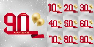 10-90 years anniversary celebration logotype.90th years anniversary red ribbon and gold balloon on gray background. 10-90 years anniversary celebration logotype Stock Photos