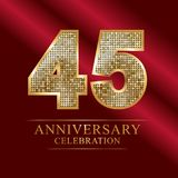 45 years anniversary celebration logotype.45th years anniversary red ribbon and gold balloon on gray background. 45 years anniversary celebration logotype.45th stock illustration