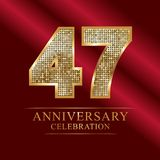 47 years anniversary celebration logotype.47th years anniversary red ribbon and gold balloon on gray background. 47 years anniversary celebration logotype.47th Royalty Free Stock Image