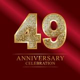 49 years anniversary celebration logotype.49th years anniversary red ribbon and gold balloon on gray background. 49 years anniversary celebration logotype.49th Royalty Free Stock Photo