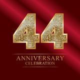 44 years anniversary celebration logotype.44th years anniversary red ribbon and gold balloon on gray background. 44 years anniversary celebration logotype.44th Royalty Free Stock Photo