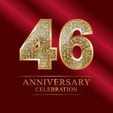46 years anniversary celebration logotype.46th years anniversary red ribbon and gold balloon on gray background. 46 years anniversary celebration logotype.46th Stock Photos