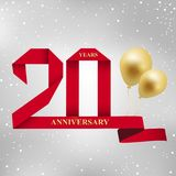 20 years anniversary celebration red ribbon logotype. 20 years anniversary celebration red ribbon and gold balloon logotype.20th years anniversary on gray vector illustration
