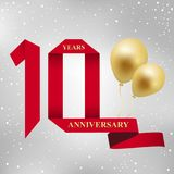 10 years anniversary celebration red ribbon logotype. 10 years anniversary celebration red ribbon and gold balloon logotype.90th years anniversary on gray stock illustration