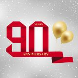 90 years anniversary celebration red ribbon logotype. 90 years anniversary celebration red ribbon and gold balloon logotype.90th years anniversary  on gray Stock Image