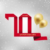 70 years anniversary celebration red ribbon logotype. 70 years anniversary celebration red ribbon and gold balloon logotype.70th years anniversary  on gray Stock Image