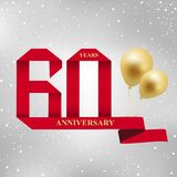 60 years anniversary celebration red ribbon logotype. 60 years anniversary celebration red ribbon and gold balloon logotype.60th years anniversary on gray royalty free illustration