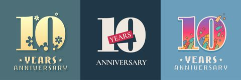 10 years anniversary celebration set of vector icon, logo. Template graphic design elements for 10th anniversary card royalty free illustration