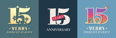 15 years anniversary celebration set of vector icon, logo. Template graphic design elements for 15th anniversary card vector illustration