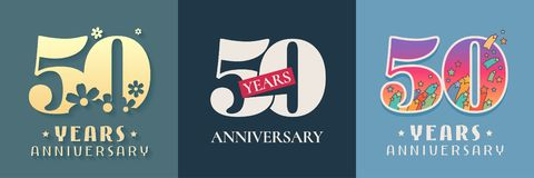 50 years anniversary celebration set of vector icon, logo. Template graphic design elements for 50th anniversary card vector illustration
