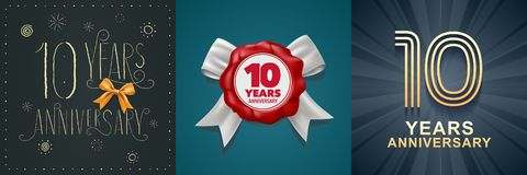 10 years anniversary celebration set of vector icons, logo. Design with festive background and number for 10th anniversary card vector illustration