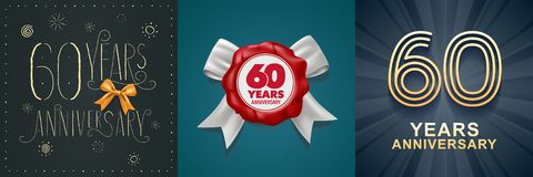 60 years anniversary celebration set of vector icons, logo. Design with festive background and number for 60th anniversary card vector illustration