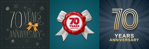 70 years anniversary celebration set of vector icons, logo. Design with festive background and number for 70th anniversary card stock illustration