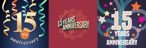 15 years anniversary celebration set of vector icons, logo. Template design element with golden number for 15th anniversary greeting card vector illustration
