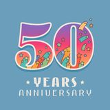 50 years anniversary celebration vector icon, logo. Template design element with bright colored number for 50th anniversary greeting card Stock Image