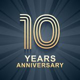10 years anniversary celebration vector icon, logo. Template design element with gold color age for 10th anniversary card Royalty Free Stock Photos