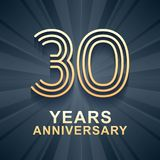 30 years anniversary celebration vector icon, logo. Template design element with gold color age for 30th anniversary card Stock Image