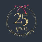 25 years anniversary celebration vector icon, logo. Template design element with golden number and red bow for 25th anniversary greeting card Stock Image
