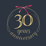 30 years anniversary celebration vector icon, logo. Template design element with golden number and red bow for 30th anniversary greeting card Stock Photography