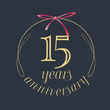 15 years anniversary celebration vector icon, logo. Template design element with golden number and red bow for 15th anniversary greeting card vector illustration