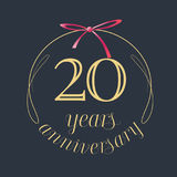 20 years anniversary celebration vector icon, logo. Template design element with golden number and red bow for 20th anniversary greeting card royalty free illustration