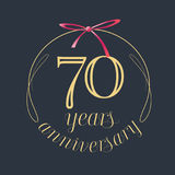 70 years anniversary celebration vector icon, logo. Template design element with golden number and red bow for 70th anniversary greeting card Stock Image
