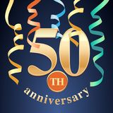 50 years anniversary celebration vector icon, logo Royalty Free Stock Images