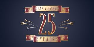 25 years anniversary celebration vector icon, logo. Template design element with golden number and swirl fireworks for 25th anniversary greeting card Royalty Free Stock Images